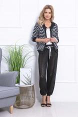 Czarny Stylowy Komplet Ażurowe Spodnie i Sweter bez Zapięcia