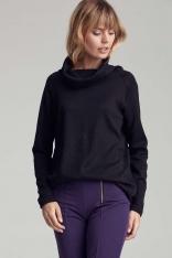 Czarny Luźny Sweter z Lejącym Golfem
