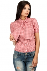 Koszulowa Bluzka w Kratkę z Kokardą pod Szyją - Czerwony