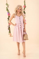 Rozkloszowana Sukienka w Paski - Różowa