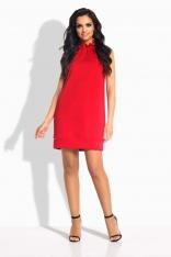 Czerwona Sukienka Pudełkowa bez Rękawów z Falbanką