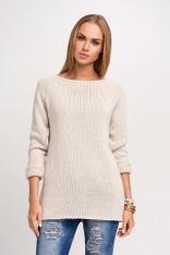 Beżowy Dłuższy Sweter z Dekoltem Łódkę