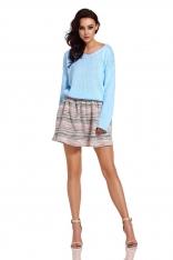 Oversizowy Sweter z Ozdobnym Splotem - Błękitny