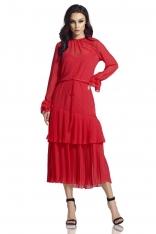 Malinowa Długa Sukienka w Stylu Boho z Plisowanymi Falbankami