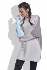 Beżowy Sweter Długi Luźny w Czterech Kolorach