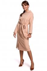 Sukienka Dzianinowa Midi z Asymetrycznym Dekoltem - Beżowa