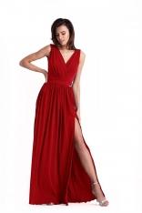 Czerwona Kopertowa Maxi Sukienka z Rozcięciem na Nodze