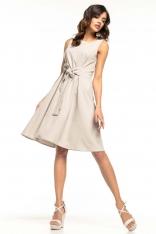 Jasnoszara Rozkloszowana Sukienka bez Rękawów z Dekoracyjnym Wiązaniem