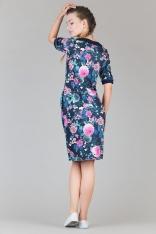 Kwiatowo-granatowa Prosta Dzianinowa Sukienka z Kontrastowymi Mankietami
