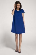 Kobaltowa Trapezowa Sukienka w Serek z Kieszeniami
