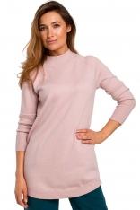 Sweter-Tunika z Półgolfem  - Różowy