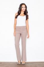 Brązowe Eleganckie Spodnie z Szerokimi Nogawkami