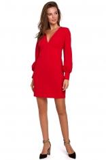 Czerwona Sukienka z Długim Bufiastym Rękawem