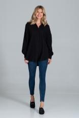 Oversizowa Koszula Bawełniana - Czarna