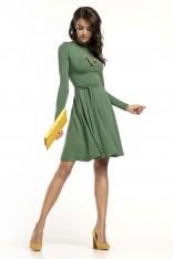 Zielona Rozkloszowana Sukienka z Golfikiem