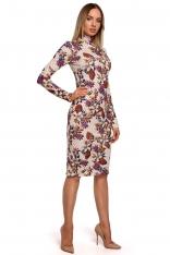 Wzorzysta Ołówkowa Sukienka z Półgolfem - Model 2