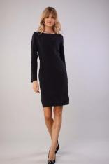 Dopasowana Sukienka z Ozdobnymi Szwami - Czarna