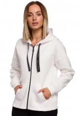 Asymetryczna Bluza na Suwak z Kapturem - Ecru