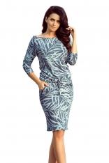 Niebieska Sukienka Ściągana w Jeansowe Liście