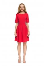 Czerwona Wizytowa Sukienka z Dołem w Kontrafałdy
