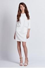 Biała Dzianinowa Prosta Sukienka z Kontrastowymi Lamówkami