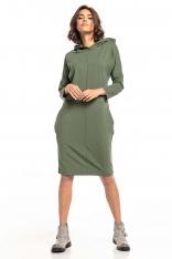Dzianinowa Sukienka z Kapturem - Zielona