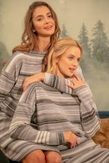 Wełniany Komplet Sweter + Spódnica w Paski - Szary