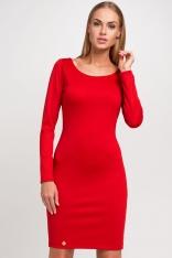 Czerwona Dzianinowa Klasyczna Sukienka z Długim Rękawem