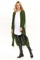 Khaki Długi Sweter-Płaszcz z Rozciętymi Bokami