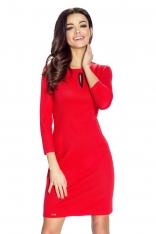 Czerwona Sukienka Bodycon z Łezką przy Dekolcie