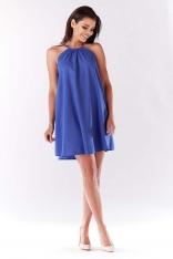 Niebieska Trapezowa Sukienka Koktajlowa z Dekoltem Halter-neck