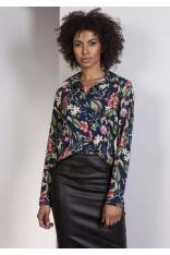 Elegancka Granatowa Koszula w Kwiaty