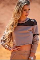 Krótka Bluza z Siateczkowymi Wstawkami - Beżowa