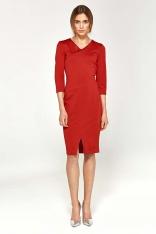 Czerwona Dopasowana Elegancka Sukienka z Przeszyciami