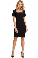 Czarna Elegancka Ołówkowa Sukienka z Dekoltem Karo z Krótkim Rękawem