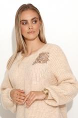 Moherowy Sweter z Błyszczącą Naszywką - Beżowy