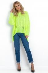Limonkowy Asymetryczny Sweter w Aranowy Splot