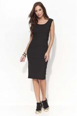 Czarna Dopasowana Sukienka Midi na Szerokich Ramiączkach
