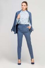 Niebieskie Eleganckie Spodnie z Podwyższonym Stanem