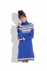 Chabrowa Ciepła Sukienka z Golfem w Norweskie Wzory