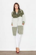 Szykowny Zielony Wełniany Płaszcz bez Zapięcia