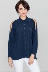Unikatowa Granatowa Koszula z Wycięciami na Ramionach