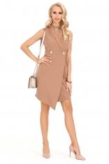 Kamelowa Asymetryczna Sukienka Żakietowa bez Rękawów