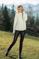 Ecru Ciepły Sweter z Ozdobnym Wzorem