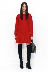 Czerwona Sukienka Casual z Falbanką na Długi Rękaw
