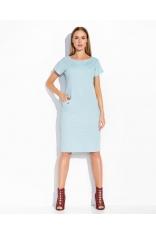 Błękitna Skromna Sukienka Midi z Kieszeniami