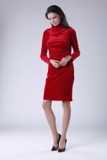 Czerwona Dopasowana Sukienka Welurowa z Półgolfem