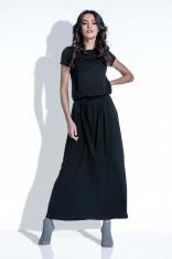 Czarna Sukienka Maxi z Wiązanym Paskiem