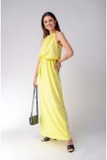 Żółta Maxi Sukienka z Dekoltem Typu Halter