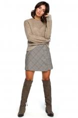 Jasnobrązowy Kimonowy Sweter z Kontrastowymi Mankietami